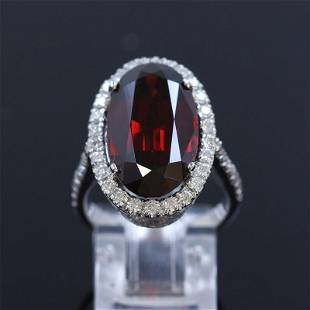 9.91CT Natural Malaya Garnet 14k white gold ring