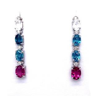10.1ct Sapphire 14K White Gold Earrings