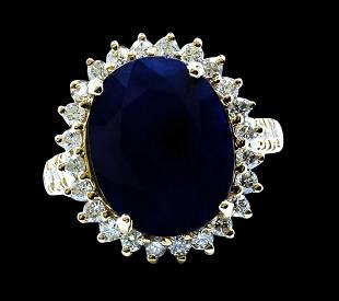 9.19CT NATURAL CEYLON BLUE SAPPHIRE 14K Y/G RING