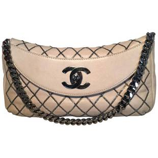 Chanel Beige Leather Gunmetal Chain Quilted Classic