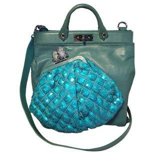 Marc Jacobs Seafoam Green Leather and Sequin Small
