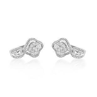 0.90ct Natural Diamonds 18K White Gold Earrings