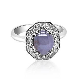 2.82ct Natural Ceylon Star Sapphire 14K White Gold Ring