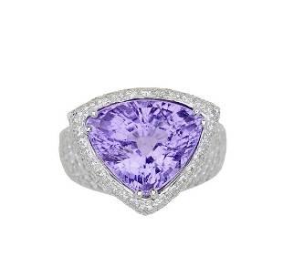 GIA 10.11ct Purple Tourmaline 18K White Gold Ring