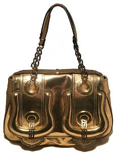 Fendi Gold Leather Buckle B Bag