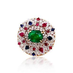 GIA Certified 7.55ct NATURAL Emerald 18K White & Rose