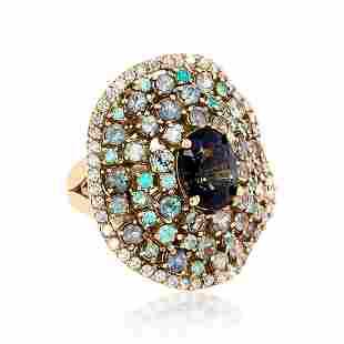 2.55ct NATURAL CEYLON green sapphire 18K Rose Gold Ring