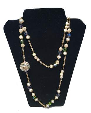 Chanel Vintage Pearl and Green and Purple Beaded