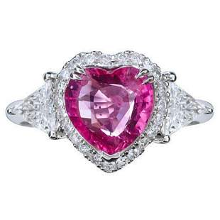GIA Certified 2.10ct Natural No Heat Pink Sapphire 18K