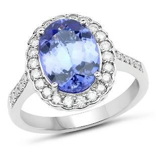 3.57ct Tanzanite 14K White Gold Ring