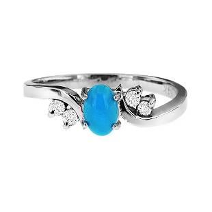 0.46ct Turquoise 14 K White Gold Ring