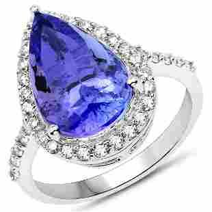 5.64ct Tanzanite 14K White Gold Ring