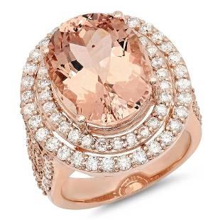 10.99ct Morganite 14 K Rose Gold Ring