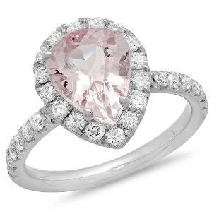2.28ct Morganite 14 K White Gold Ring