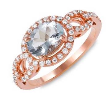 0.91ct Aqua 14 K Rose Gold Ring
