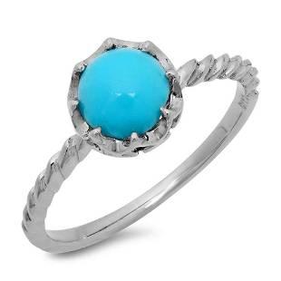1.33ct Turquoise 14 K White Gold Ring
