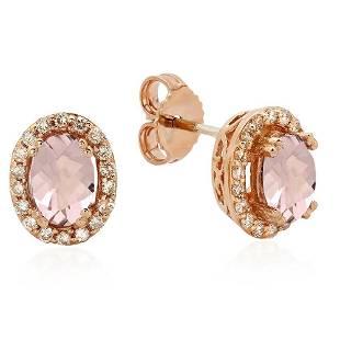 2.31ct Morganite 14 K Rose Gold Earrings