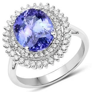 4.06ct Tanzanite 14K White Gold Ring