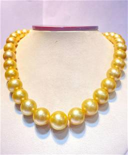 Round 12-14mm golden south sea pearl 33pcs 16inches