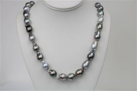 12-14mm Tahitian Multi Color Free Form Baroque Necklace