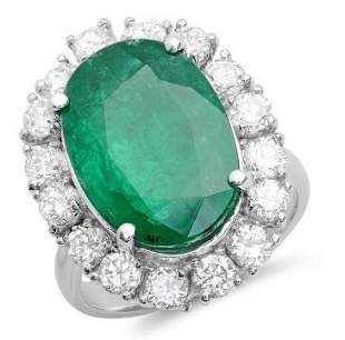 8.58ct Emerald 14 K White Gold Ring