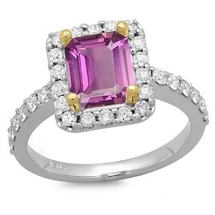 1.66ct Pink Sapphire 14 K White Gold Ring