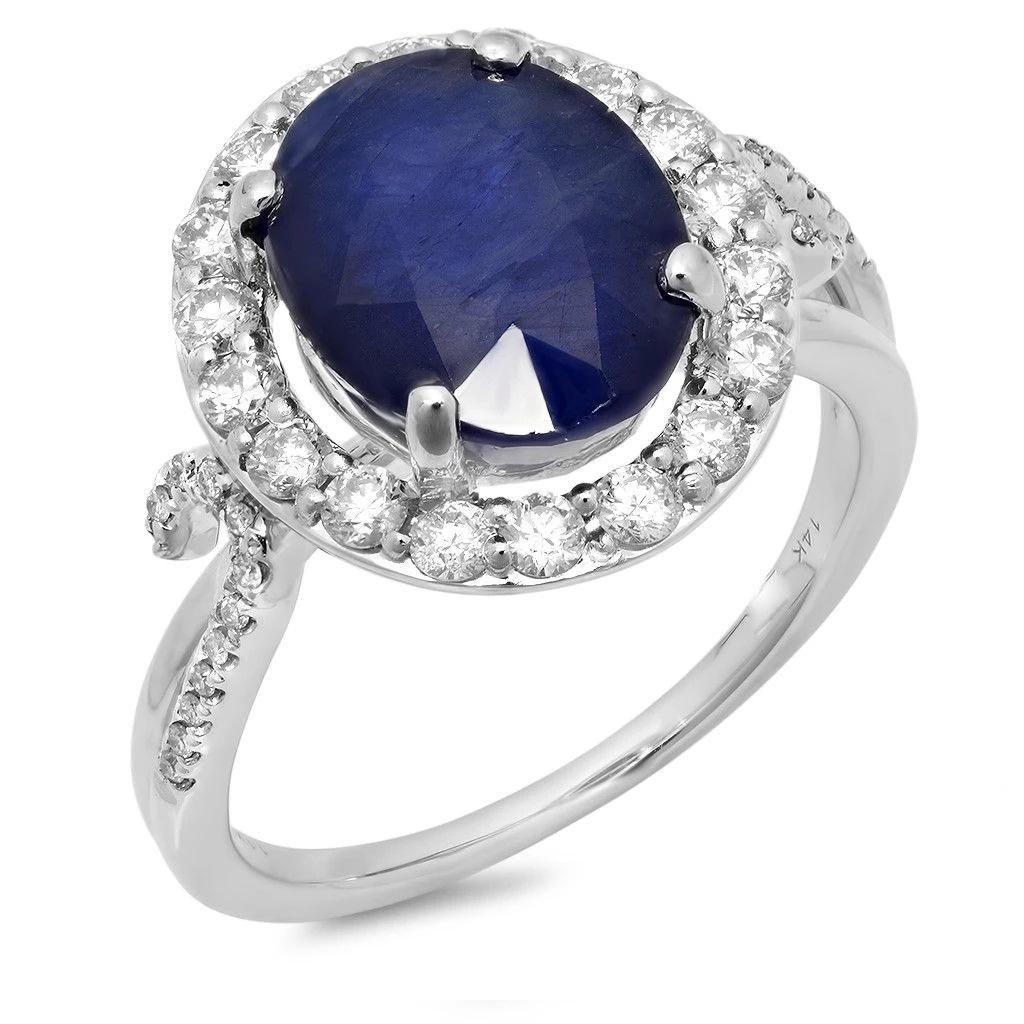 5.37ct Blue Sapphire 14 K White Gold Ring