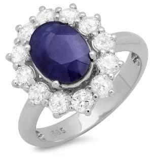 2.39ct Blue Sapphire 14 K White Gold Ring