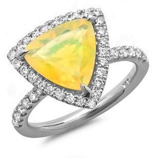 1.84ct Opal 14 K White Gold Ring