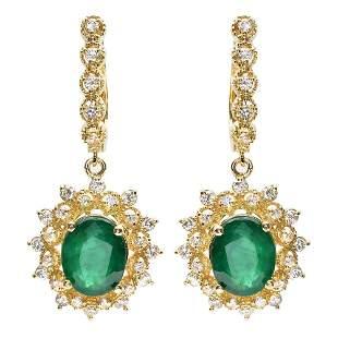 4.86ct Emerald 14 K Yellow Gold Earrings