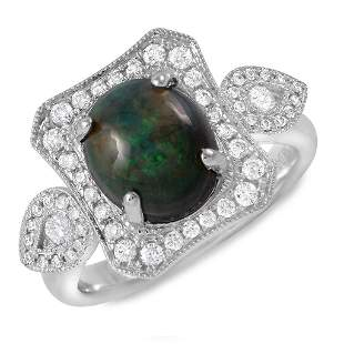 1.53ct Opal 14 K White Gold Ring