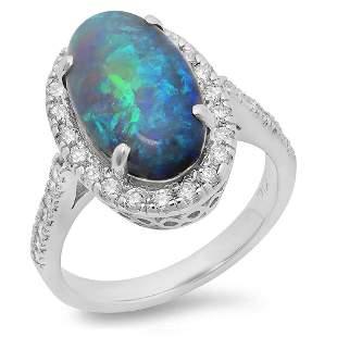 4.17ct Opal 14 K White Gold Ring