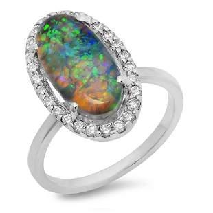 2.7ct Opal 14 K White Gold Ring