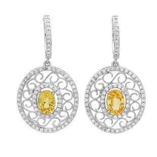 1.96ct yellow sapphire 14 K White Gold Earrings