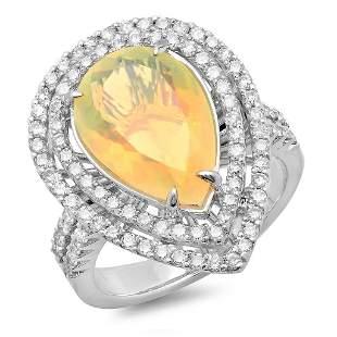 2.92ct Opal 14 K White Gold Ring