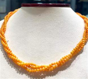 """3 strands of coral beads 3mm 16"""" with silver targo"""