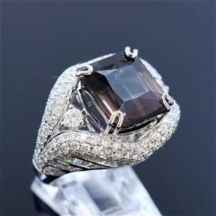 13.52ct Bi-Color Tourmaline 18K White Gold Ring