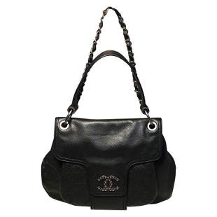 Chanel Black Leather Double Strap Shoulder Bag Tote