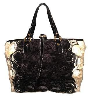 Valentino Black and White Silk Rosier Roses Tote Bag