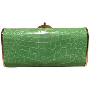 Judith Leiber Vintage Mini Green Alligator Clutch