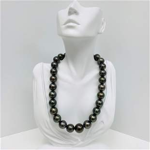 15-17mm Tahitian Dark Green Round Pearl Necklace with