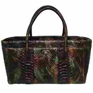 Chanel Green and Brown Multicolor Python Snakeskin Cerf