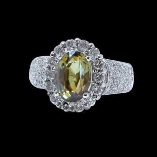 3.17CT NATURAL ALEXANDRITE 18K WHITE GOLD RING