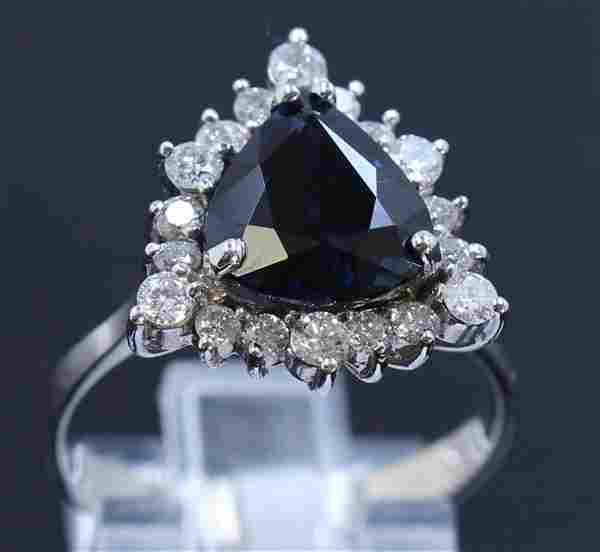 GIA 4.00ct NATURAL CEYLON Blue Sapphire 18K White Gold