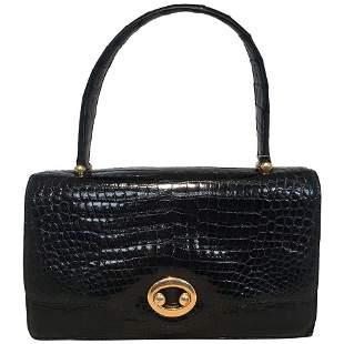 Vintage Hermes Black Alligator Handbag c1960s