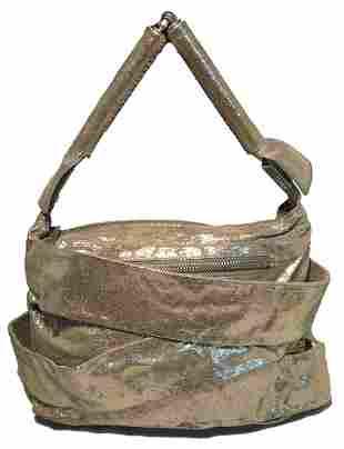 Fendi Gold Leather Straps Small Shoulder Bag