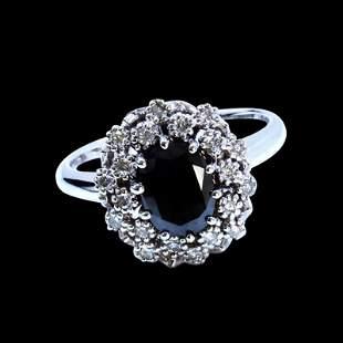 1.24CT TREATED BLACK DIAMOND 14K WHITE GOLD RING