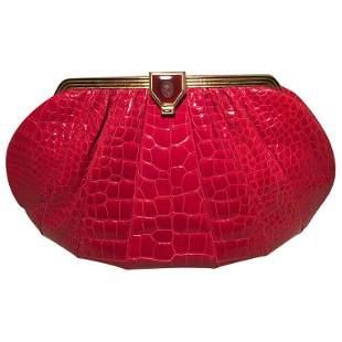 Judith Leiber Vintage Red Alligator XL Oversized Clutch