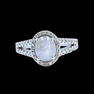 2.19ct NATURAL CEYLON Star Sapphire 18K White Gold Ring