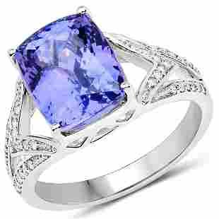 5.79ct Tanzanite 14K White Gold Ring